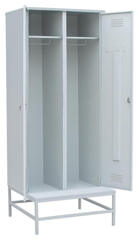 Шкаф для одежды на подставке с металлической скамьей