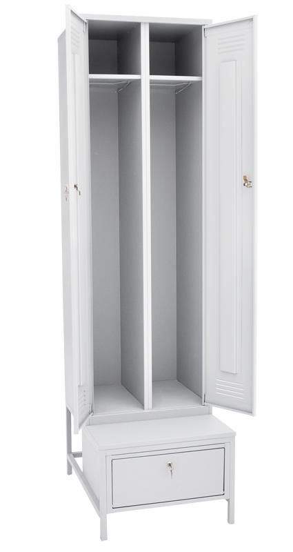 Шкаф для одежды двухстворчатый на подставке с ящиком
