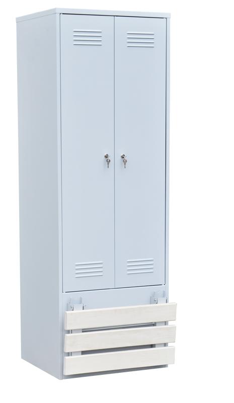 Шкаф для одежды 2-х створчатый со складной скамьей (верх липа)